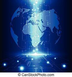 טכנולוגיה, טליקום, תקציר, גלובלי, וקטור, רקע, עתיד, חשמלי