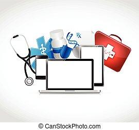 טכנולוגיה, רפואי, עצב, דוגמה, מושגים