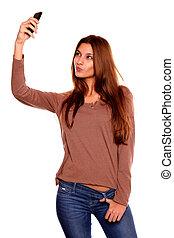 טלפון סלולרי, אישה, צילום, לקחת, צעיר, מקסים