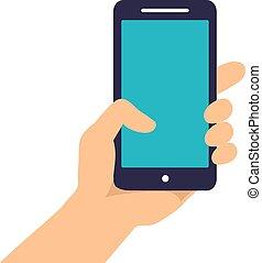 טלפן, להחזיק יד, להראות, חכם, רקע, הפרד, הקרן, לבן