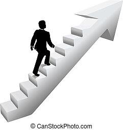 טפס, מדרגות, עסק, הצלחה, איש