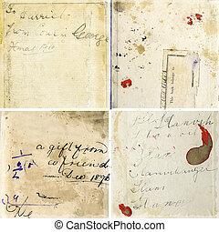טקסטורות, גראנג, בציר, אוסף, נייר, כתב יד