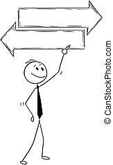 טקסט, החלטה, לכתוב, חץ, טופס, איש עסקים, חתום, ציור היתולי, ריק