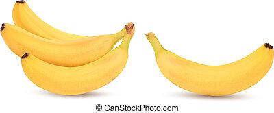 טרי, וקטור, בננות, white., הפרד