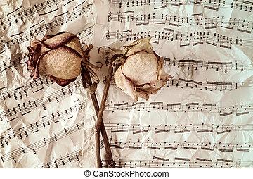 יבש, ורדים, מוסיקה, רקע, דפים