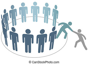 ידיד, אנשים, הצטרף, עוזר, חברים, קבץ, חברה, עוזרת
