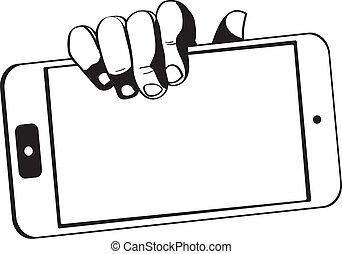 ידיים, להחזיק, קדור, נגע, -, מחשב, black-white, מכשיר