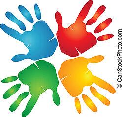 ידיים, צבעוני, שיתוף פעולה, לוגו, מסביב