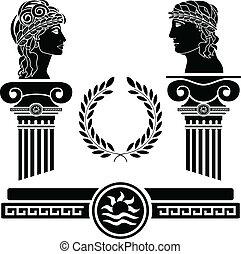יווני, ראשים, עמודים, בן אנוש