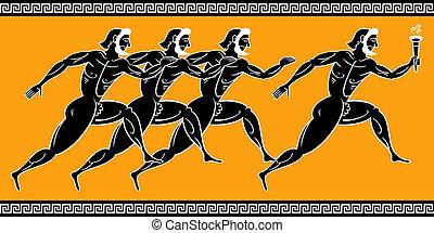 יווני, רצים