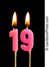 יום הולדת, מושג, דמויות, להשרף, רקע., 189, הפרד, חופשה, לחגוג, יום שנה, מסגרת, שחור, יצור, נרות, עוגה, שולחן, dates), (numbers, nineteen, תארך, חשוב