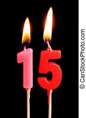 יום הולדת, מושג, 15, דמויות, להשרף, רקע., נרות, הפרד, חופשה, לחגוג, יום שנה, מסגרת, שחור, יצור, עוגה, שולחן, dates), (numbers, חמשה עשר, תארך, חשוב