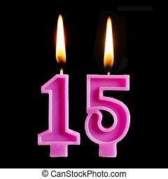 יום הולדת, מושג, 15, יצור, להשרף, רקע., נרות, הפרד, לחגוג, יום שנה, יום הולדת, שחור, עוגה, דמויות, חופשה, חמשה עשר, תארך, חשוב