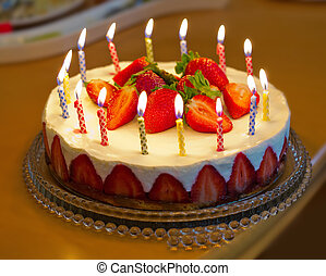 יום הולדת, תות שדה, עוגה, candles.