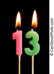 יום הולדת, 13, מושג, דמויות, להשרף, רקע., נרות, הפרד, חופשה, לחגוג, יום שנה, מסגרת, שחור, שלושה עשר, יצור, עוגה, שולחן, dates), (numbers, תארך, חשוב