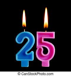 יום הולדת, 25, מושג, יצור, להשרף, רקע., עשרים, הפרד, חמשה, לחגוג, יום שנה, יום הולדת, שחור, נרות, עוגה, דמויות, חופשה, תארך, חשוב