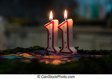 יום הולדת, cake., אחד עשר, נרות