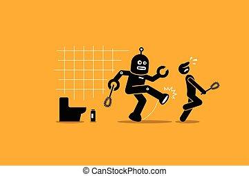 יותר נקי, שלו, שוער, הלאה, עובד, רובוט, עבודה, לנקות, בן אנוש, בועט, toilet.