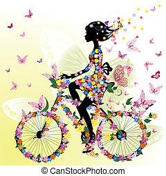 ילדה, אופניים, רומנטי