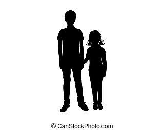 ילדה, בחור, צלליות, להחזיק ידיים
