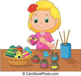 ילדה, חג הפסחה, לצבוע, ציור היתולי, ביצים