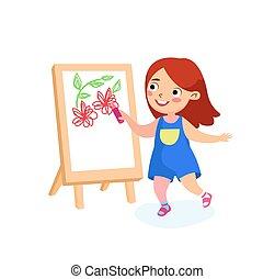 ילדה, יום, concept., בינלאומי, שמח, ילדות, ילד, או, paper., אושר, וקטור, שלום, בית ספר, לצבוע, ציור היתולי, אופי, חופשות, easel., ילדים, דוגמה, ציור, אריג גס, השקע, פרחים