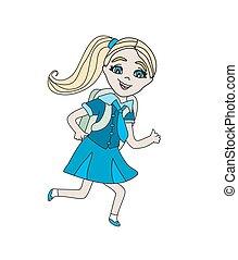 ילדה, ללכת, בית ספר