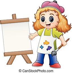 ילדה, לצבוע, ציור היתולי