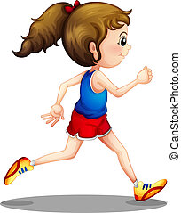 ילדה, לרוץ, צעיר