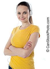 ילדה, מוסיקה, צעיר, להקשיב