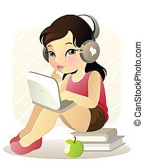 ילדה, מחשב נייד, צעיר