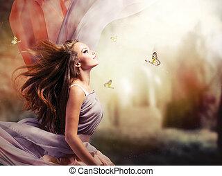 ילדה, פנטזיה, קסום, קפוץ, גן, יפה, מיסטי