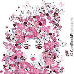 ילדה, פרחים, פרפרים, צפה