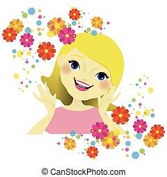 ילדה, פרחים, צפה