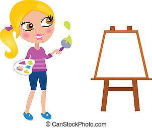 ילדה קטנה, צייר, צחצח, שמח, צבע, ציור היתולי