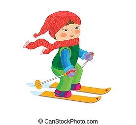 ילדה קטנה, cartoon., vector., skiing.