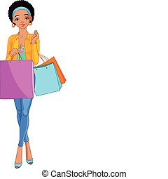 ילדה, שקיות, אפריקני, קניות