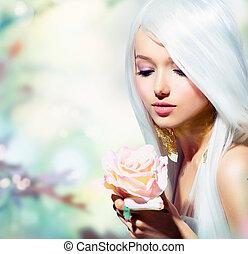ילדה, flower., פנטזיה, קפוץ, עלה, יפה