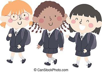 ילדות של בית הספר, ילדים, דוגמה, מדים