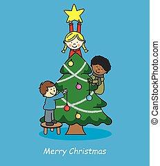 ילדים, חג המולד, לקשט, עץ
