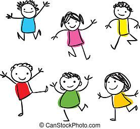 ילדים, לקפוץ, שמח