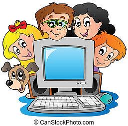 ילדים, מחשב, כלב, ציור היתולי