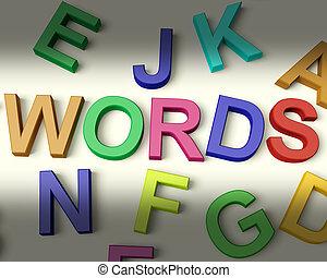 ילדים, מכתבים, ססגוני, כתוב, מילים, פלסטיק