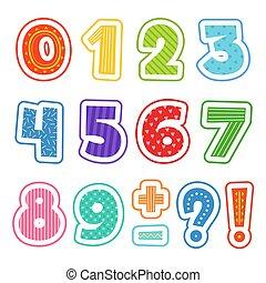 ילדים של בית הספר, צבע, כליפארט, אלפבית, הפרד, numbers., כיף, וקטור, טקסט, דוגמות, ציור היתולי