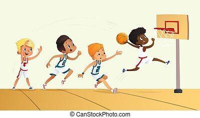 ילדים, game., competition., דוגמה, וקטור, התחבר, לשחק, basketball.