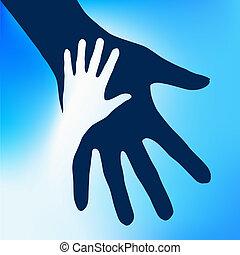 ילד, ידיים, לעזור