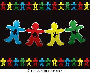 ילד, נייר, autism, רקע, בובה