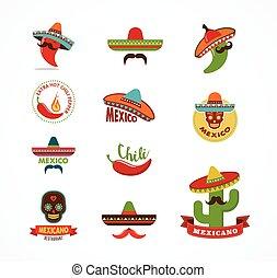 יסודות, אוכל, תפריט, איקונים, מסעדה, מקסיקני