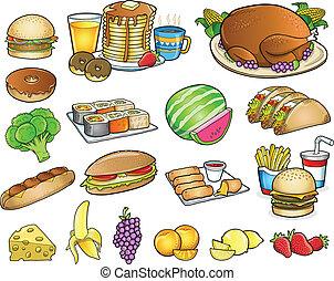 יסודות, קבע, אוכל, שתה, וקטור, ארוחה