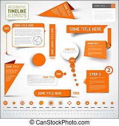 יסודות, קו זמן, /, infographic, דפוסית, תפוז